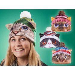 Accessoires de fête, Coiffe de chat tricot rose taille unique, C4334ROSE, 10,50€