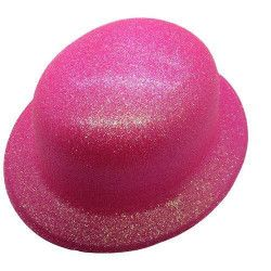 Chapeau melon fluo fuschia Accessoires de fête CI2032FUSCHIA