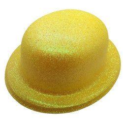 Chapeau melon fluo jaune Accessoires de fête CI2032-JAUNE
