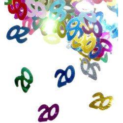 Déco festive, Confettis de table multicolores 20 ans, CO2771, 1,99€