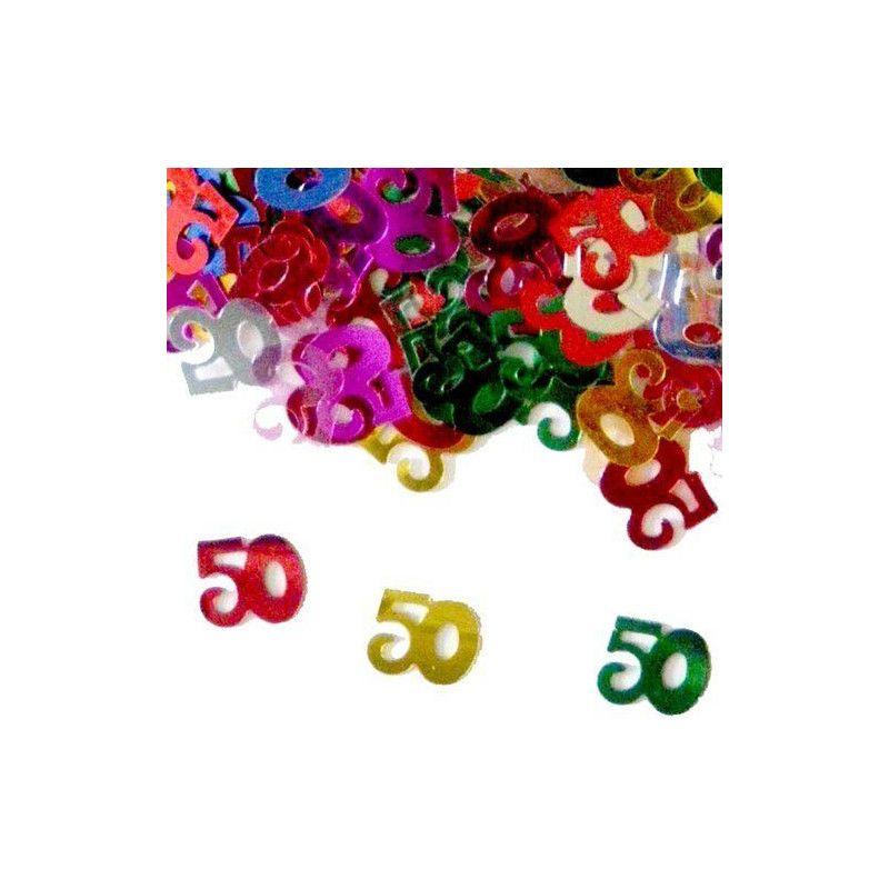 Confettis de table multicolores 50 ans Déco festive CO2775