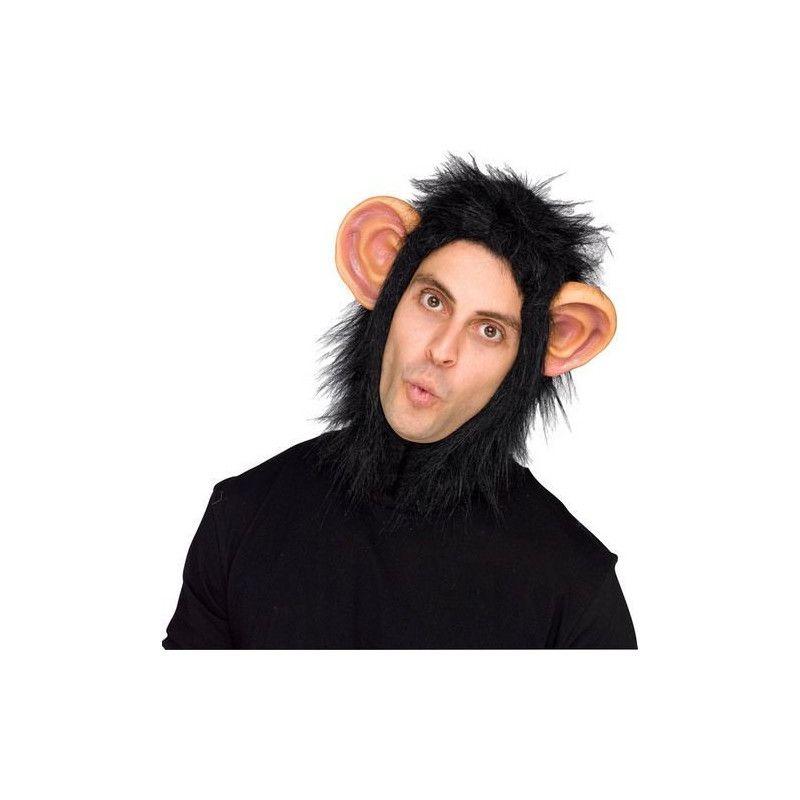 Cagoule de chimpanzé adulte avec oreilles Accessoires de fête FW93343C