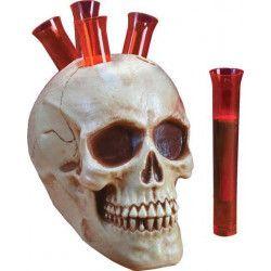 Déco festive, Crâne de squelette avec 5 tubes à shots, FW94059, 12,50€