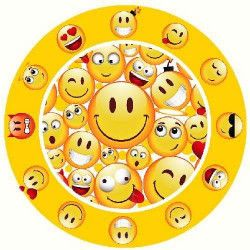 Déco festive, Assiettes jetables Emoji x 6 diamètre 23 cm, GEMOA623EM, 1,80€
