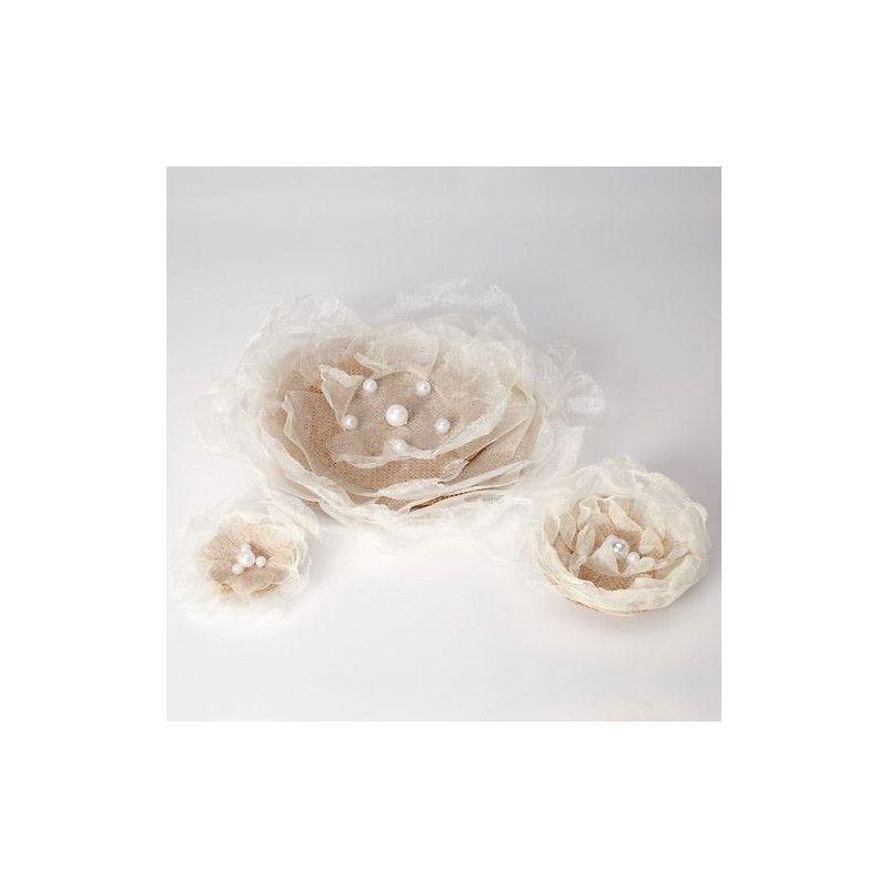 Fleur jute et voile transparent avec perles x 3 Déco festive 14505