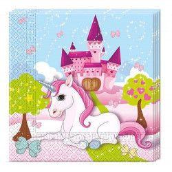 Serviettes papier 33 x 33 cm Licorne x 20 Déco festive GLIC85673