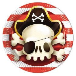 Déco festive, Assiettes carton x 8 thème Powerful Pirate Ø 23 cm, GPIR88158, 2,90€