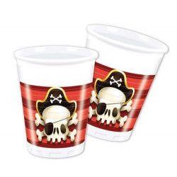 Déco festive, Gobelets anniversaire Powerful Pirates™ x 8, GPIR88159, 1,99€