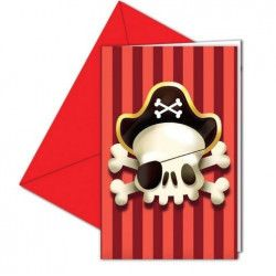 Cartes invitation Powerful Pirates™ avec enveloppes x 6 Déco festive GPIR88163