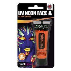 Accessoires de fête, Maquillage corps et visage orange néon UV 13 ml, HA1A05, 2,70€
