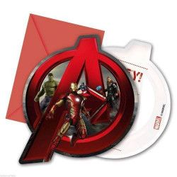 Déco festive, Cartes invitation anniversaire Avengers Age of Ultron™ x 6, LAVE85400, 3,75€