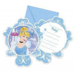 Déco festive, Cartes invitation anniversaire Cendrillon™ x 6, LCEN85691, 3,75€