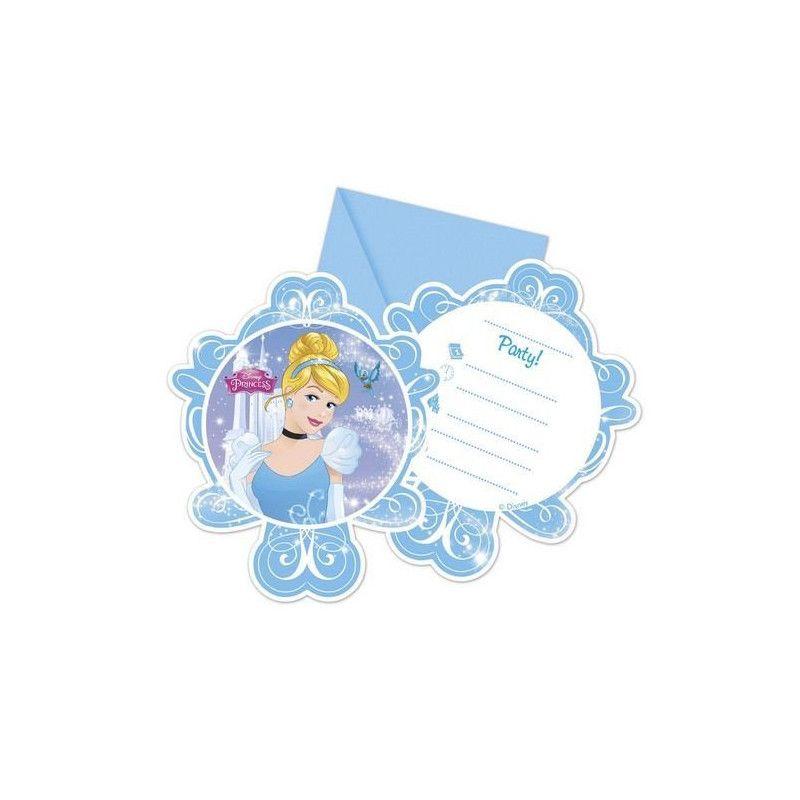 Cartes invitation anniversaire Cendrillon™ x 6 Déco festive LCEN85691