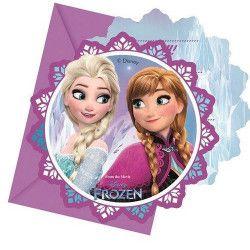 Déco festive, Cartes invitation anniversaire Reine des Neiges flocons™ x 6, LFRO86919, 3,75€