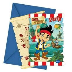 Cartes invitation anniversaire Jake le Pirate x 6 Déco festive LJAK82613