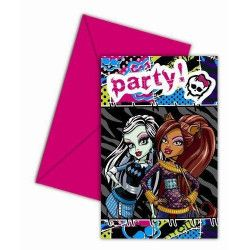 Cartes invitation anniversaire Monster high x 6 Déco festive LMHI80681