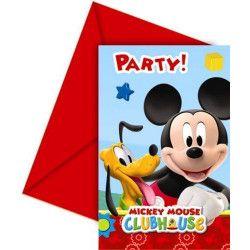 Déco festive, Cartes invitation anniversaire Mickey Mouse x 6, LMIC81513, 3,75€
