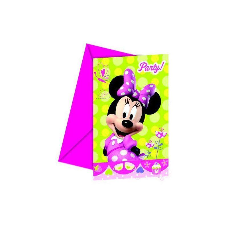 Cartes invitation anniversaire Minnie Bow-Tique x 6 Déco festive LMIN81647
