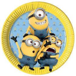 Assiettes jetables anniversaire 23 cm Lovely Minions™ x 8 Déco festive LMIO87176