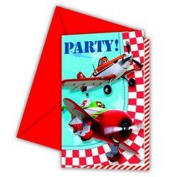 Cartes invitation anniversaire Planes™ x 6 Déco festive LPLA81656