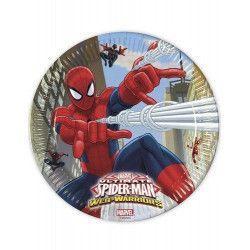 Déco festive, Assiettes carton x 8 Spiderman Web Warriors™ 23 cm, LSPI85151, 2,95€