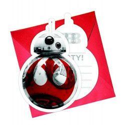 Déco festive, Cartes invitation x 6 avec enveloppes The Last Jedi™, LSWA88554, 3,50€