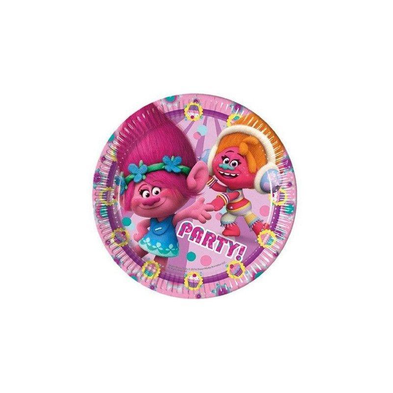 Assiettes jetables anniversaire 23 cm Trolls x 8 Déco festive LTRO87014