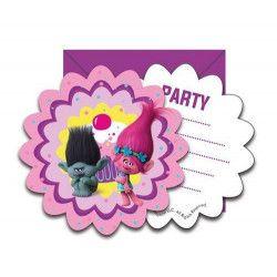 Cartes invitation anniversaire Trolls x 6 Déco festive LTRO87019