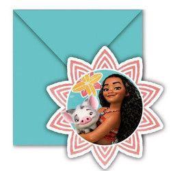 Cartes invitation anniversaire Vaiana™ x 6 Déco festive LVAI87477