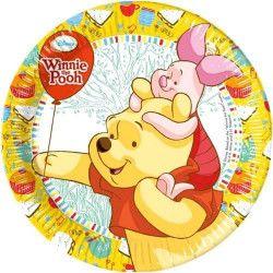 Assiettes Winnie l'Ourson Sweet Tweets 23 cm x 8 Déco festive LWIN81547