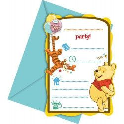 Cartes invitation anniversaire Winnie l'Ourson Tweets x 6 Déco festive LWIN81552