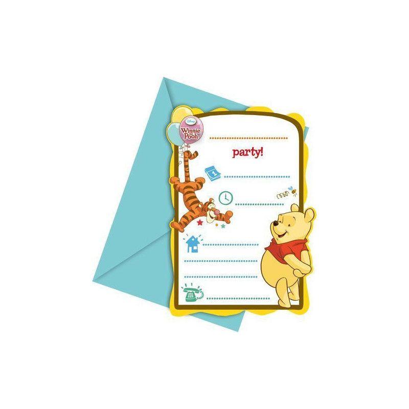 Cartes invitation anniversaire Winnie l'Ourson Tweets x 6 Déco festive LWIN81552
