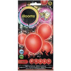 Ballons unis à led rouges x 5 Déco festive P154006