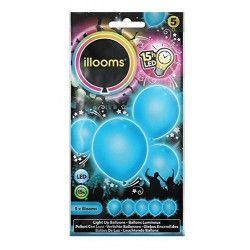Déco festive, Ballons unis à led bleus x 5, P154007, 4,95€
