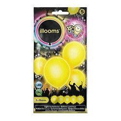 Ballons unis à led jaunes x 5 Déco festive P154008