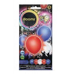Déco festive, Ballons unis à led bleu blanc rouge x 5, P154009, 4,95€