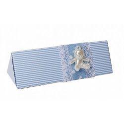 Déco festive, Contenant à dragées collection Lucas toblerone bleu 12 cm, PRO115, 1,00€