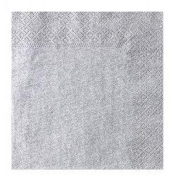 Serviettes papier argent 3 plis 33x33 cm Déco festive S3203AR