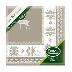 Serviettes papier x 12 Tyrol Taupe 40x40cm Déco festive S544TYROLTP