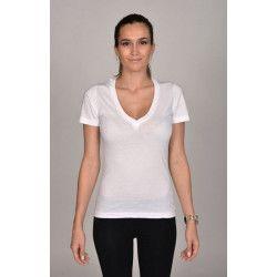 T-shirt blanc col V femme