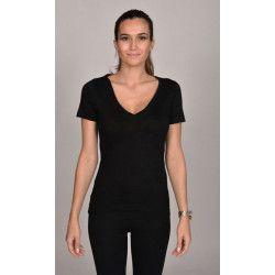 dd30b3a6dd8b T-shirt noir col V femme