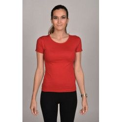 T-shirt rouge foncé coupe moulante femme