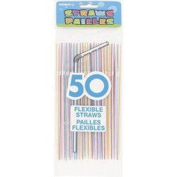 Sachet de 50 pailles flexibles multicolores Déco festive U250