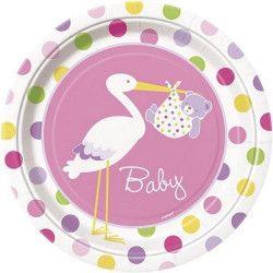 Déco festive, Assiettes jetables baby fille cigogne rose 23 cm, U47195, 3,40€
