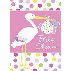 Déco festive, Cartes d'invitation avec enveloppes bébé fille cigogne rose, U47214, 2,50€