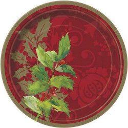 Assiettes jetables x 8 motif feuilles de houx 18 cm Déco festive U47694