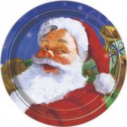 Assiettes jetables x 8 motif père noël 18 cm Déco festive U47804