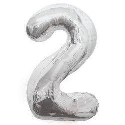 Ballon anniversaire argent 87 cm - Chiffre 2 Déco festive U53822