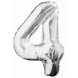 Ballon anniversaire argent 87 cm - Chiffre 4 Déco festive U53824