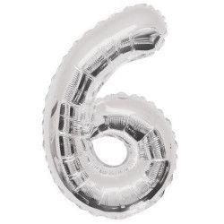 Ballon anniversaire argent 87 cm - Chiffre 6 Déco festive U55756